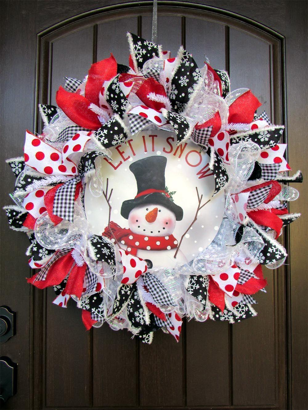 2017 Snowman with Center Sign Wreath Tutorial Wreath