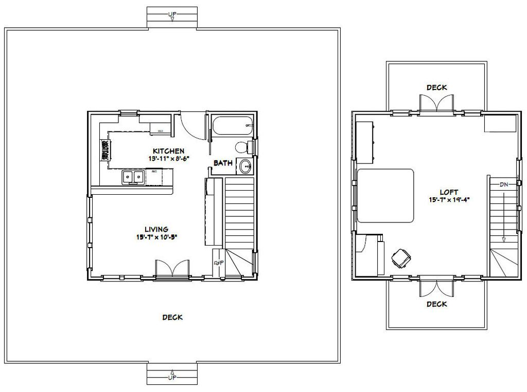 wonderful 20x20 cabin plans #3: 20x20 House -- #20X20H5A -- 706 sq ft - Excellent Floor Plans