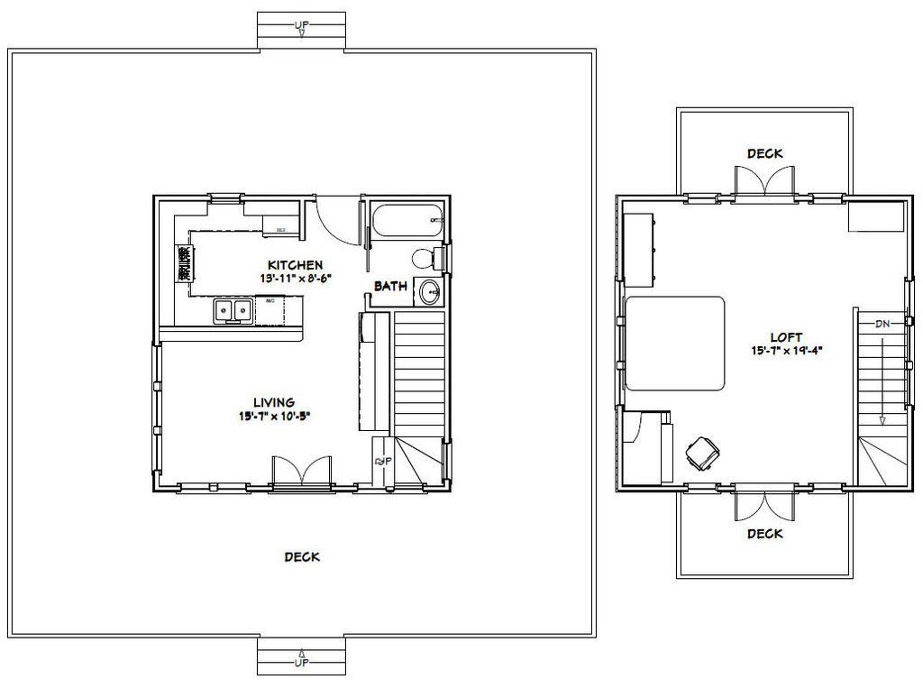20x20 House 20x20h5a 706 Sq Ft Excellent Floor Plans