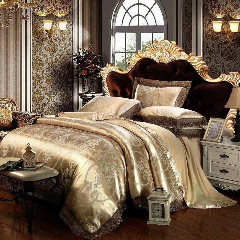 Champagne Gold And Chocolate Brown Gothic Pattern Tribal Print Vintage Victorian Lace Luxury Jacquard Satin Ful Luxury Bedding Luxury Bedding Sets Bedding Sets