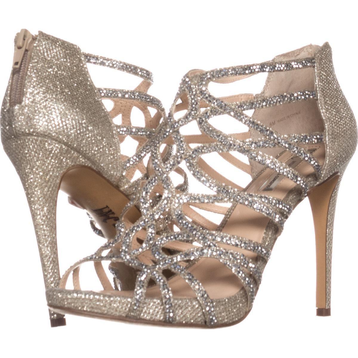 I35 Sharee2 Strappy Sparkle Dress Sandals Champagne 10 UK