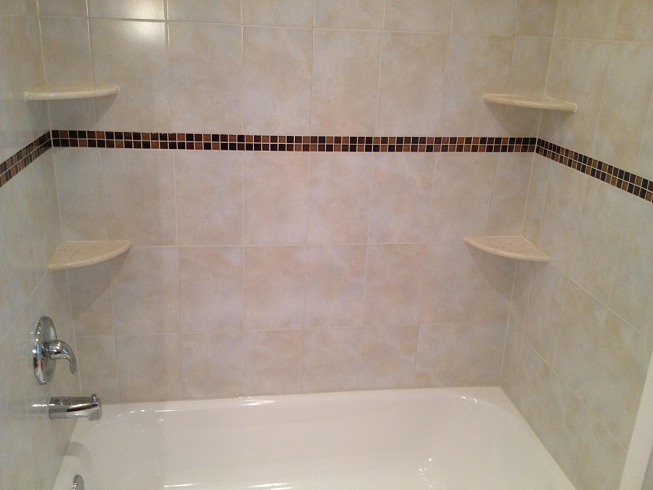 8x12 ceramic tile tub surround installation with 1x1 glass tile ...