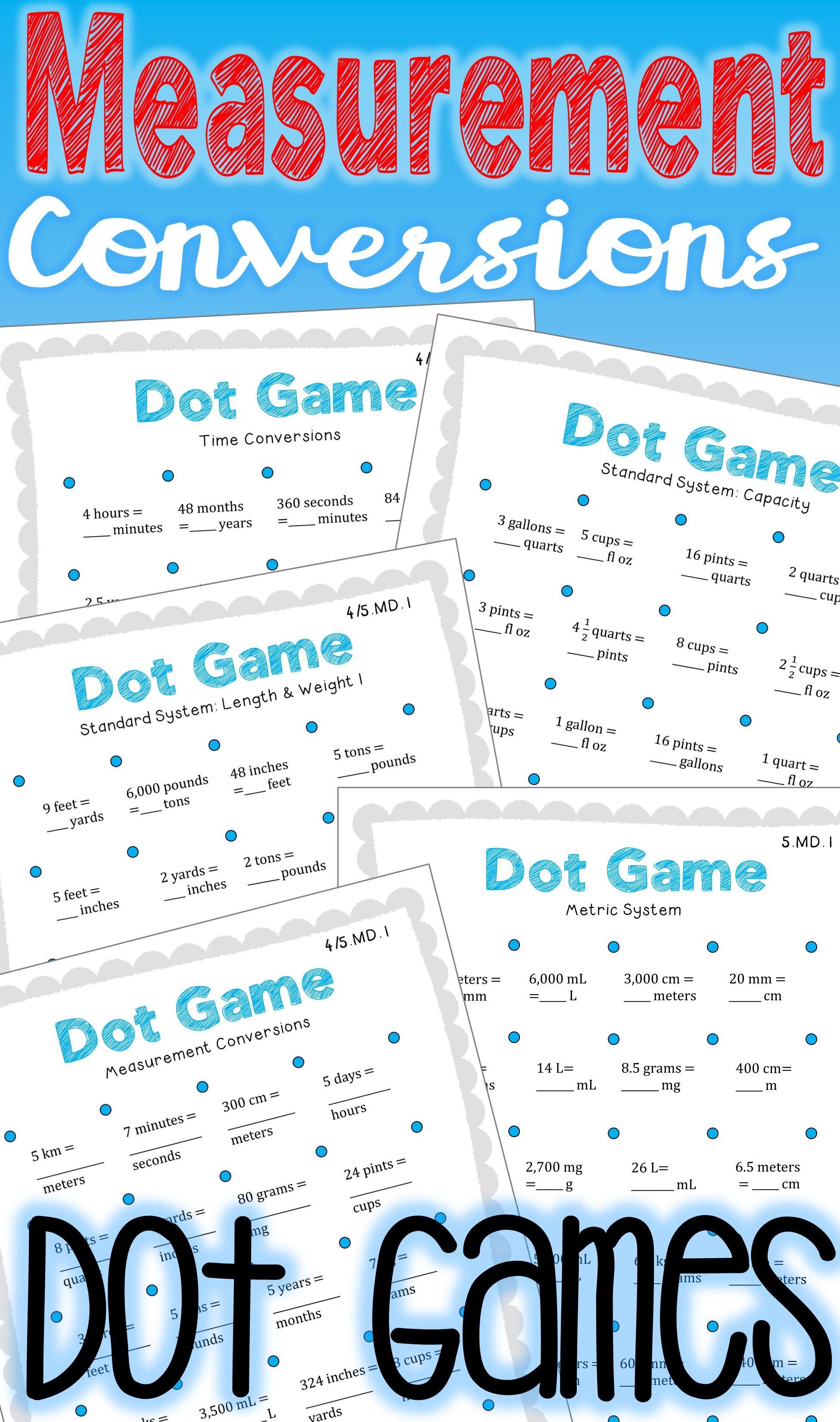 Measurement Conversions Math Centers Dot Games