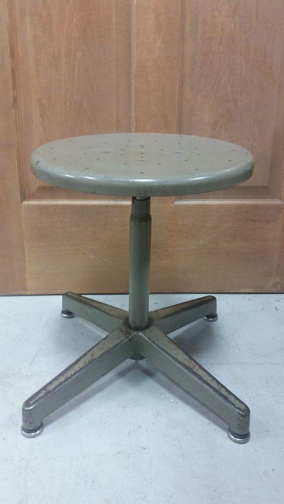 Vintage Cramer Industrial Adjustable Round Metal School Shop 360
