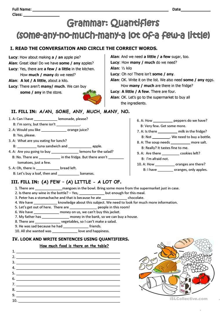 Quantifiers Worksheet