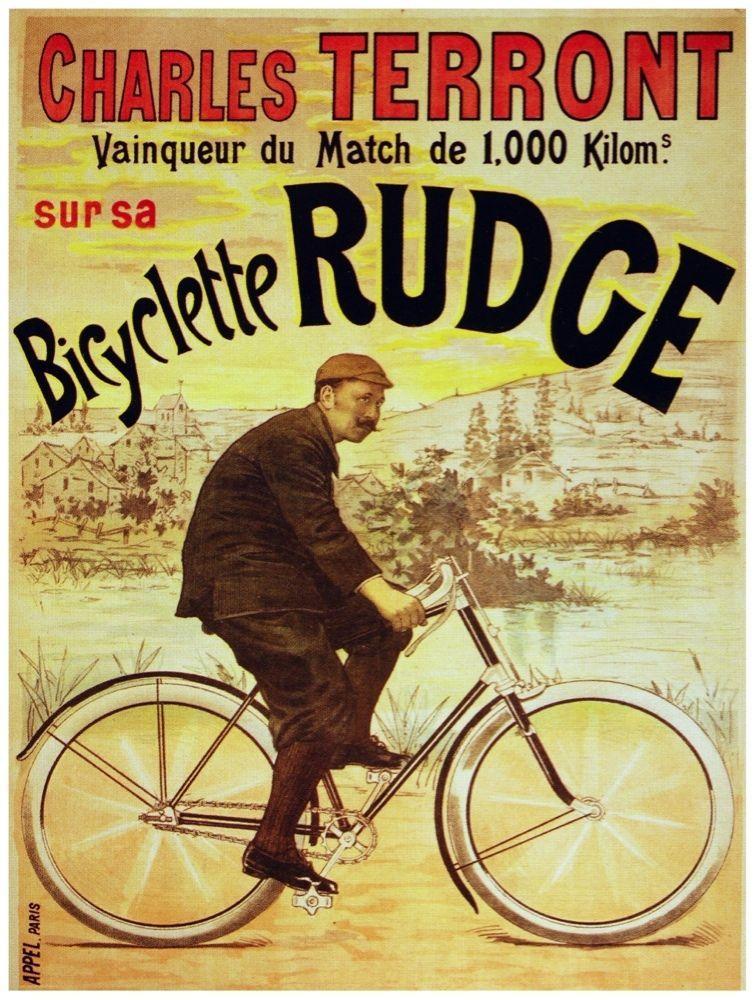8173.Charles Terront.bicyclette rudge.man riding bike.POSTER.art ...