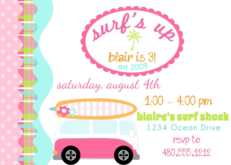 PRINTABLE PARTY INVITATION - Surfer Girl Birthday Beach Party ...