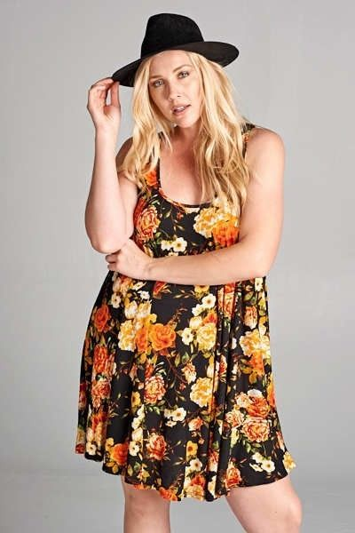 Womens Plus Size Flirty Summer Floral Print Relaxed Swing Dress 1x