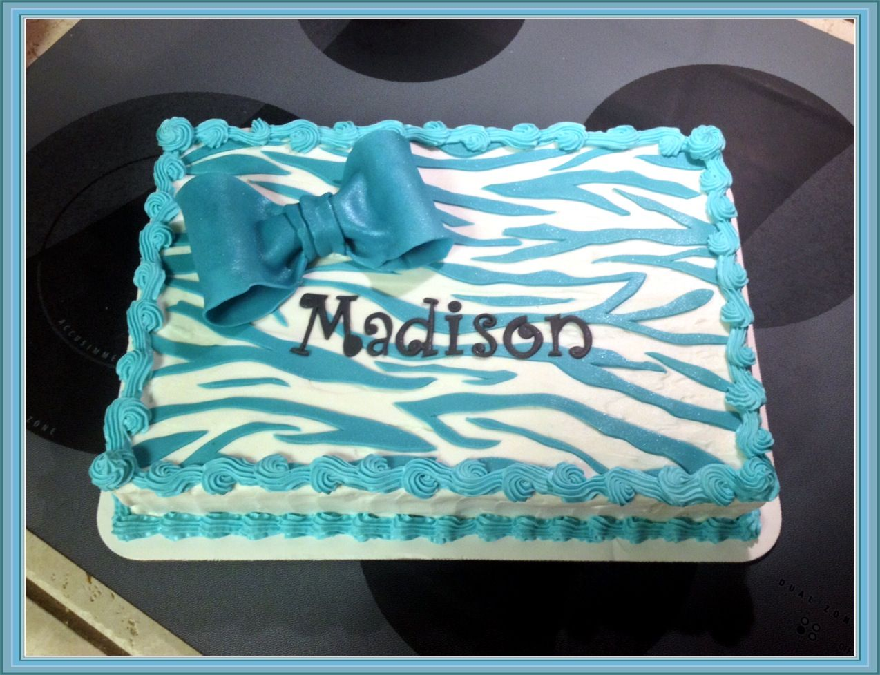 Turquoise Zebra Striped Sheet Cake With Bow The Great