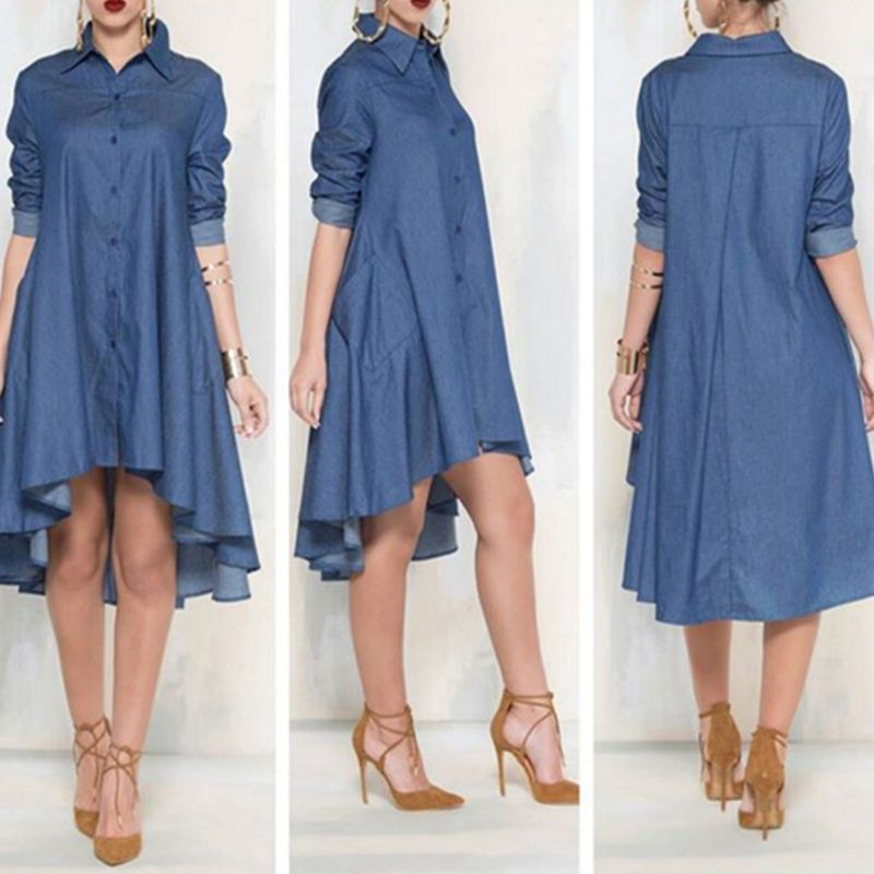 a7c90cb511f Vintage SEXY Women Loose Long Sleeve Denim Shirt Dress Casual Jeans Mini  Dress in Clothing