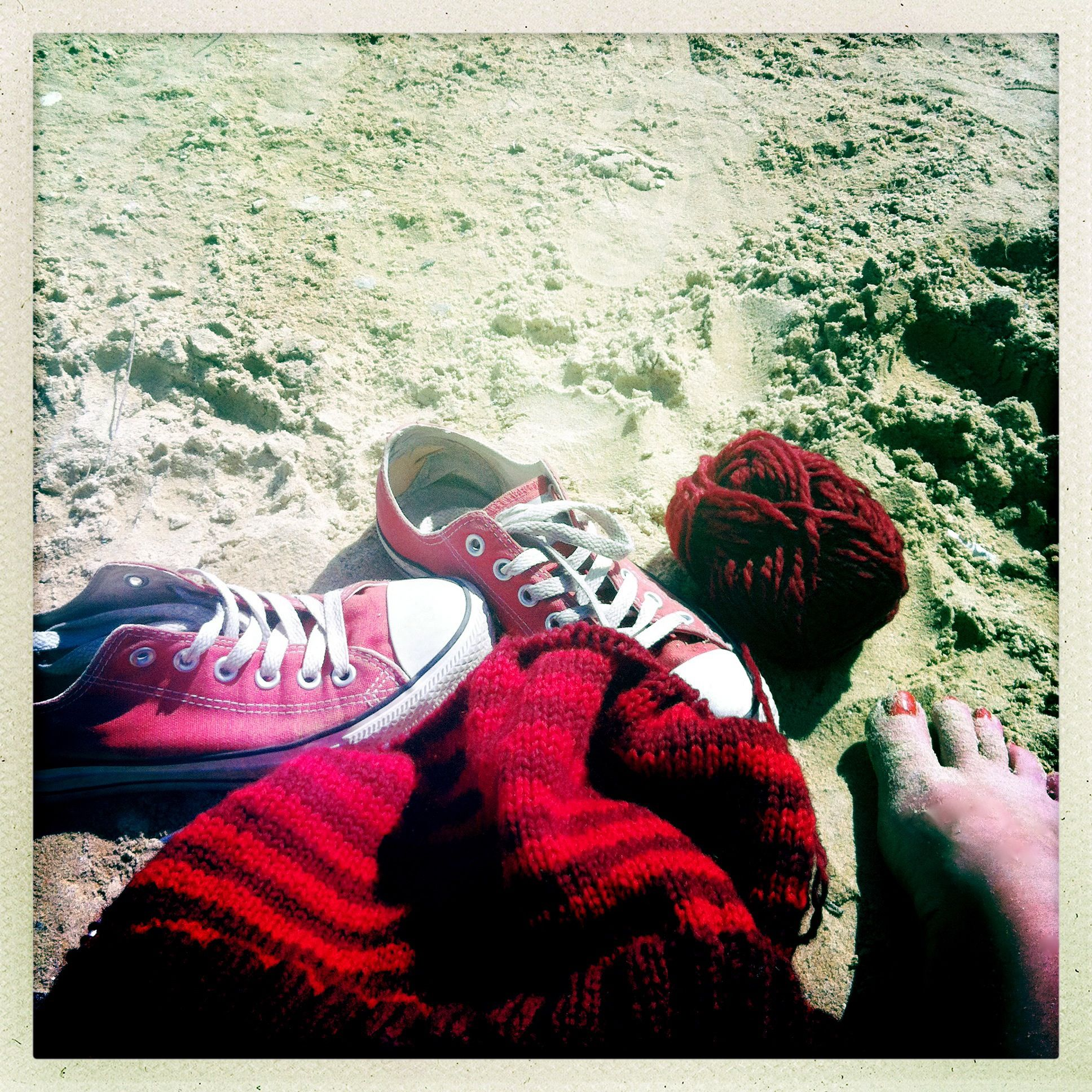 Knitting on the beach for colder autumn days!