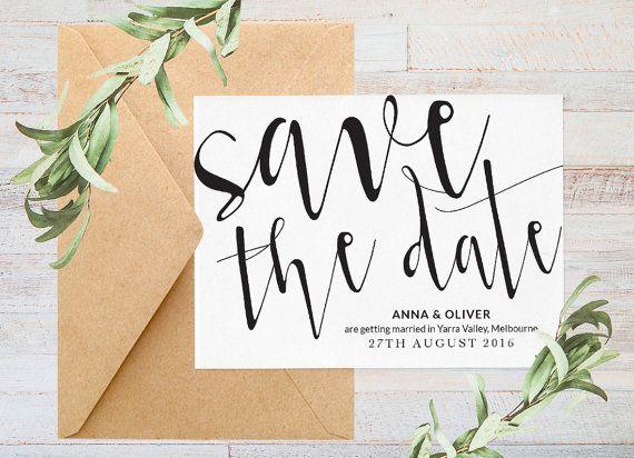 Save the date Printable save the date Black by ThePrintableShopcom ...
