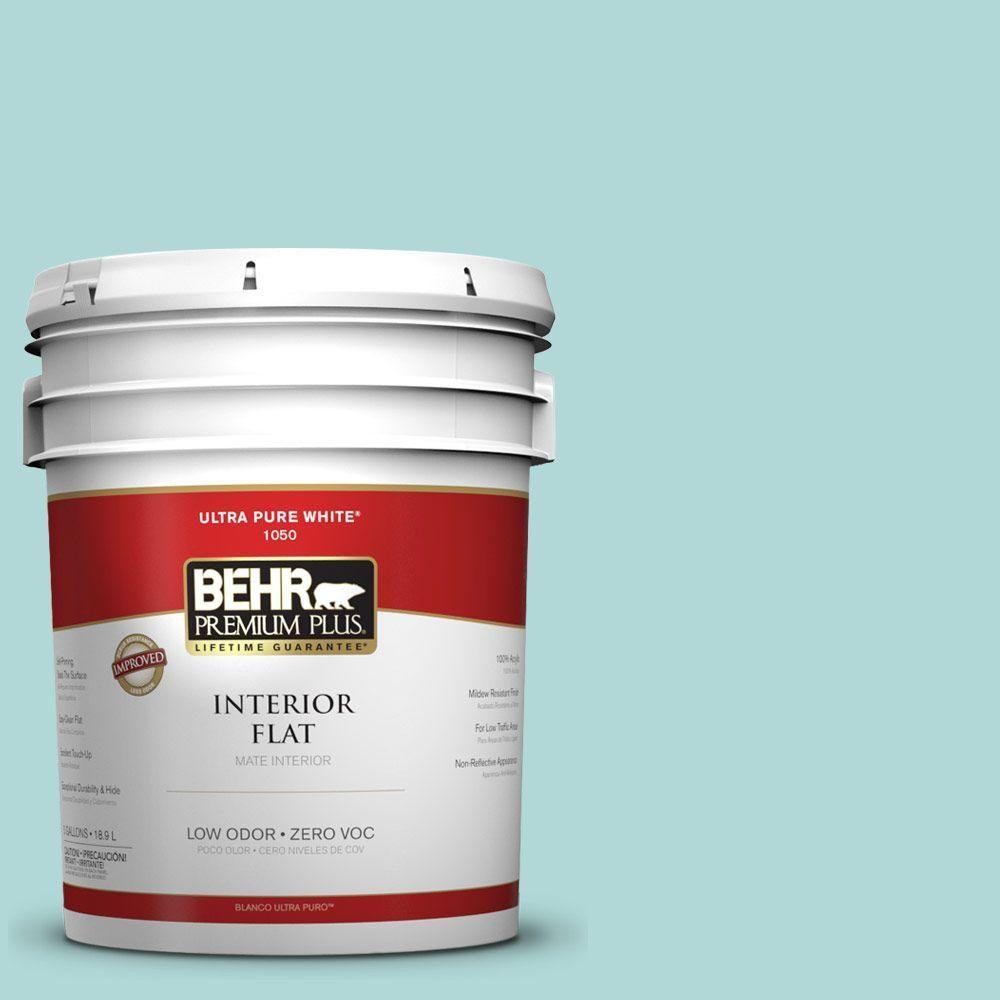 BEHR Premium Plus 5-gal. #T12-19 Sugar Pool Zero VOC Flat Interior Paint