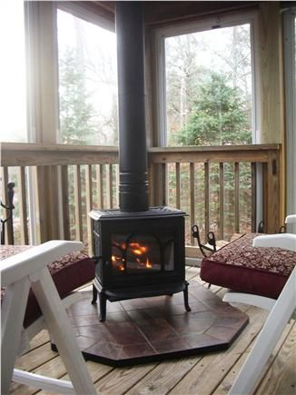 Wood Stove On An Enclosed Porch Perfect For A Chilly