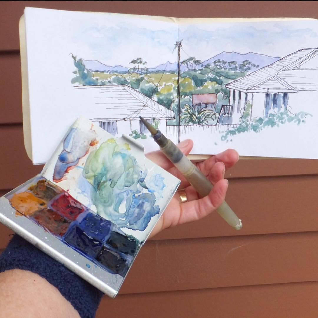 Mini Sketch Kit For Sketching While Walking Palette Attached