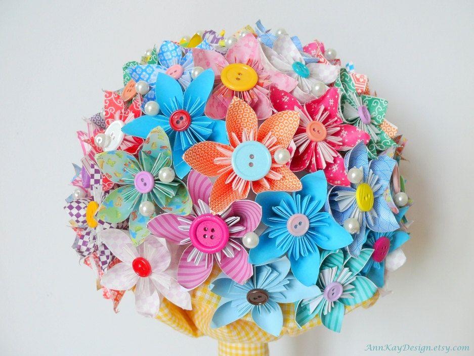Origami Bridal Bouquet Kusudama Paper Flowers | ARTS & CRAFTS ...