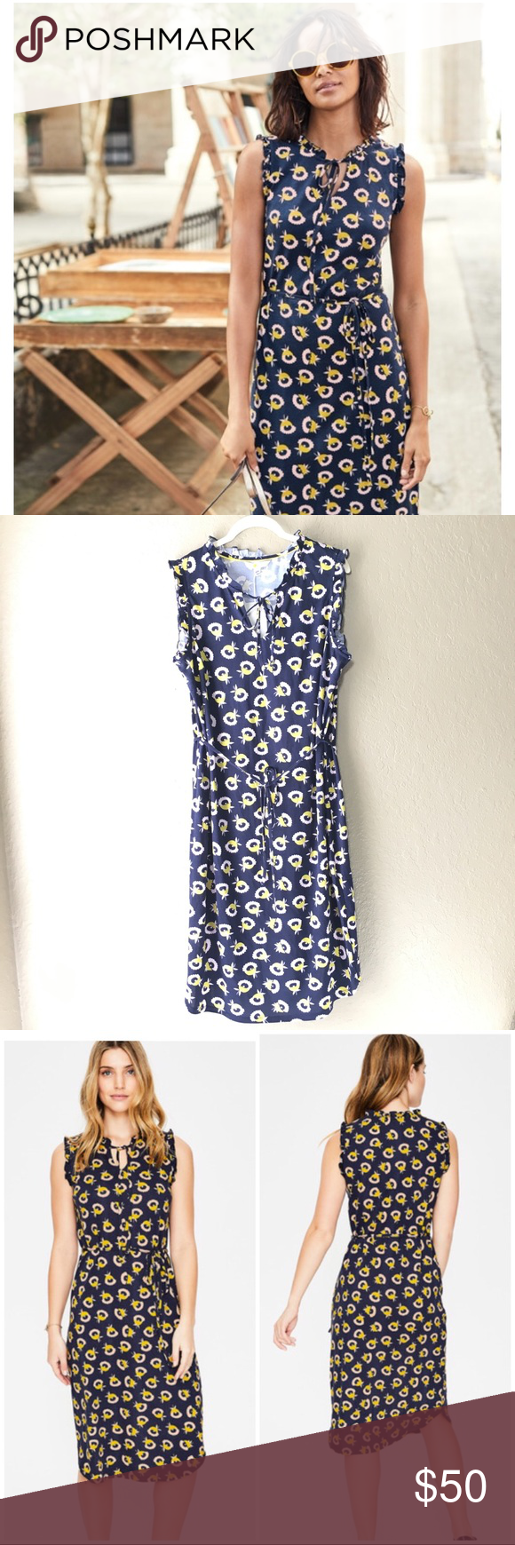 "a544beee8e2 NWT BODEN Lois Jersey Dress J0207 Navy US 12R Bust 21.5"", length 44 ..."