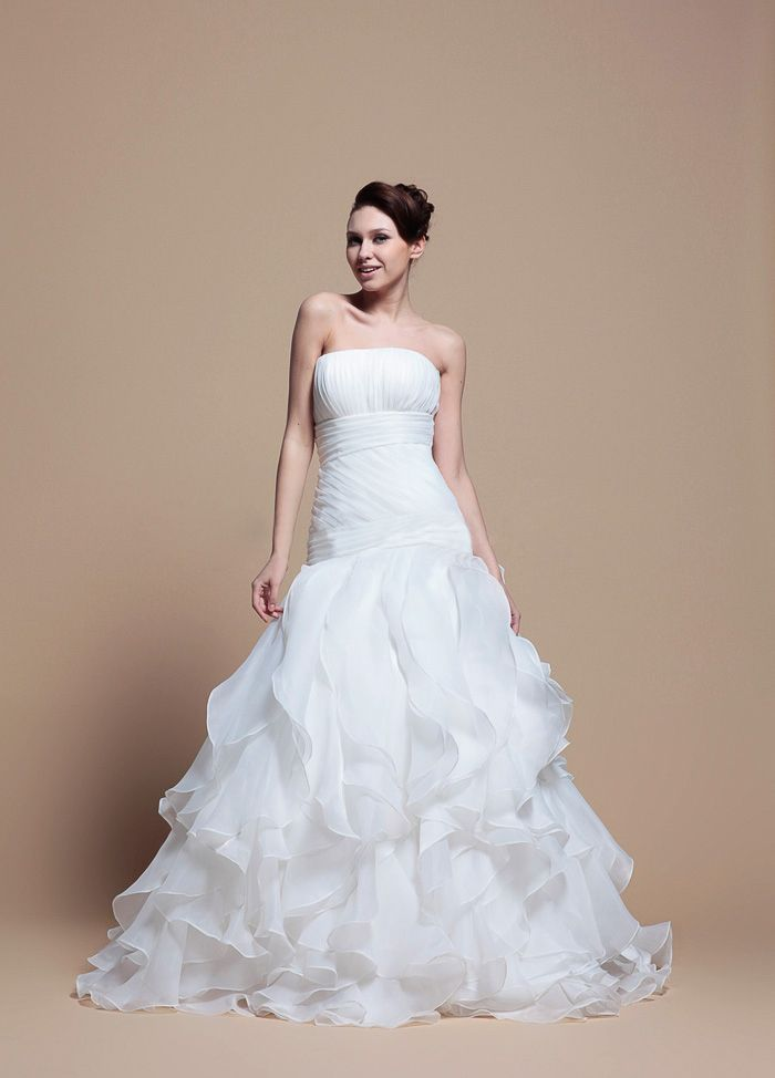 2469b16fc Elegant A-Line Ruffled Organza With Dropped Waist Wedding Dress Futuro
