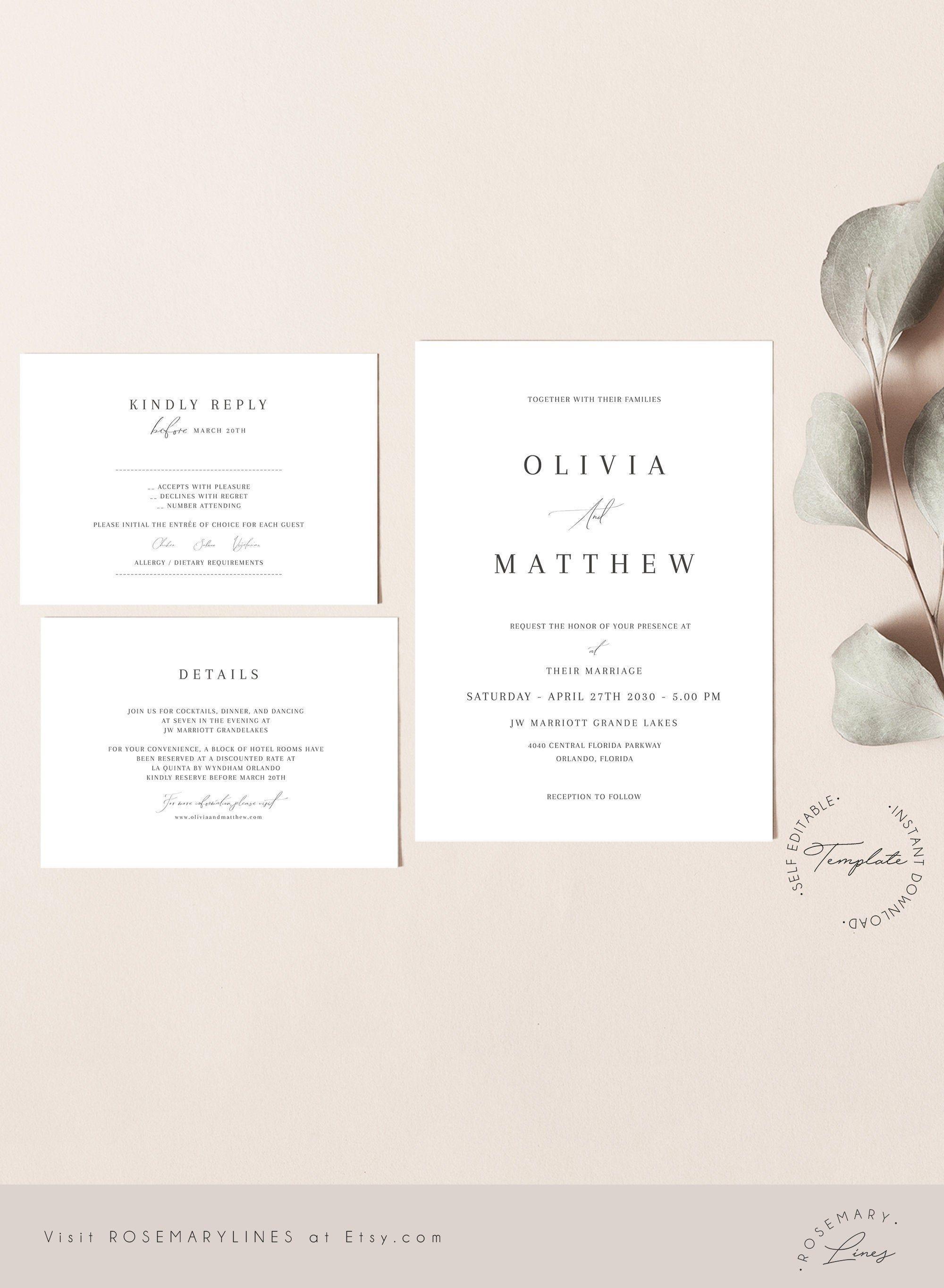 Calligraphy Wedding Invitation Suite Editable Template Modern Wedding Editable Invitation Elegant Wedding Invite Minimalist Invitation 310