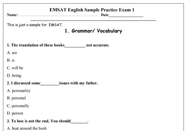امتحان EMSAT للغة الانجليزية للصف الثانى عشر 2019 للتعليم الاماراتى |  Grammar and vocabulary, Exam, Practice exam