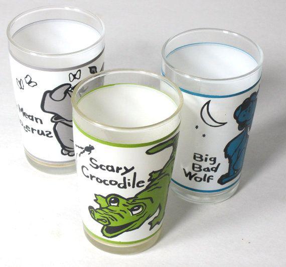 Set Of 3 Juice Glass Set Big Bad Wolf Scary Crocodile Very
