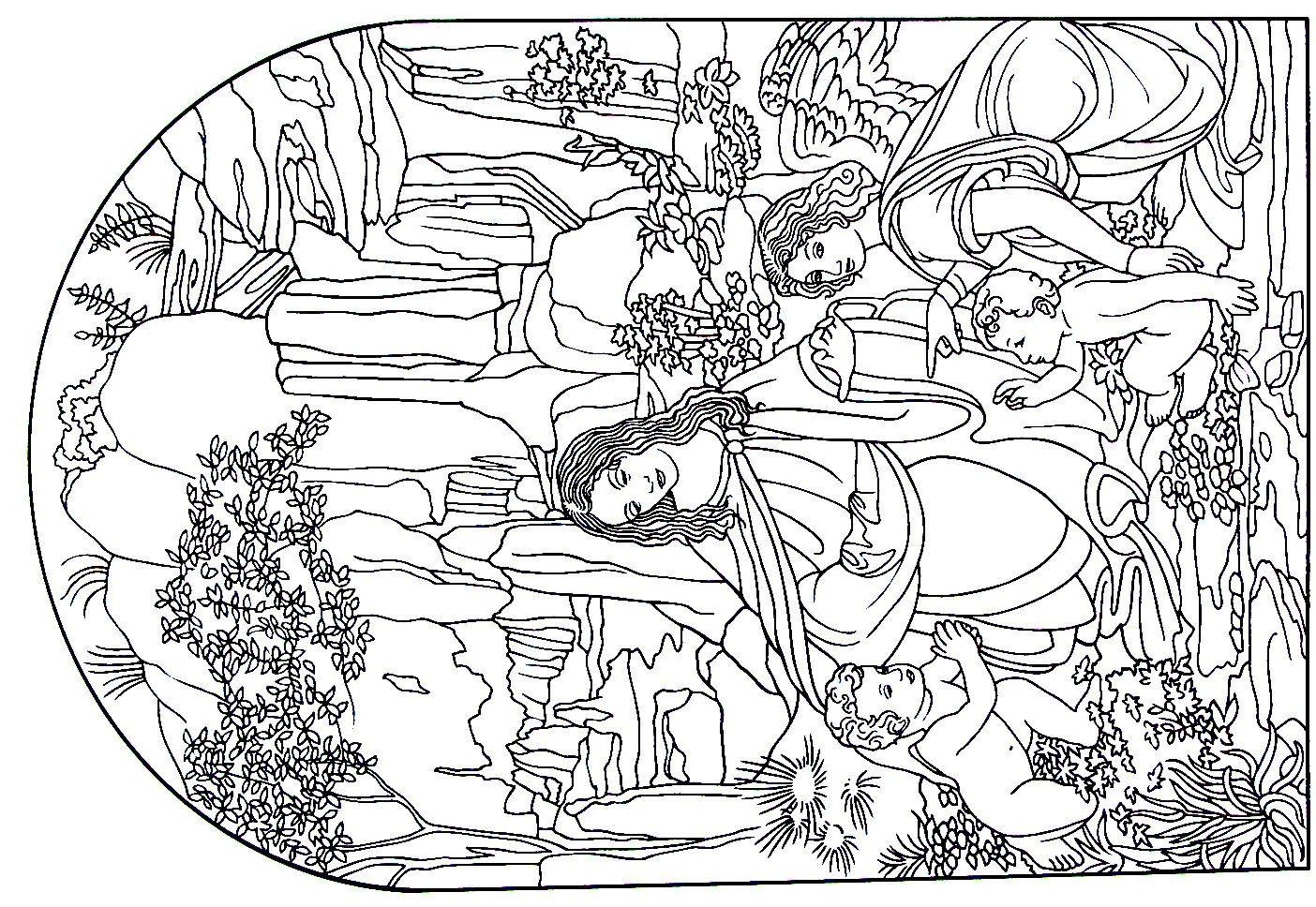 Printable coloring pages renaissance - Virgin Of The Rocks Painting By Leonardo Da Vinci Renaissance Printable Coloring Book Page