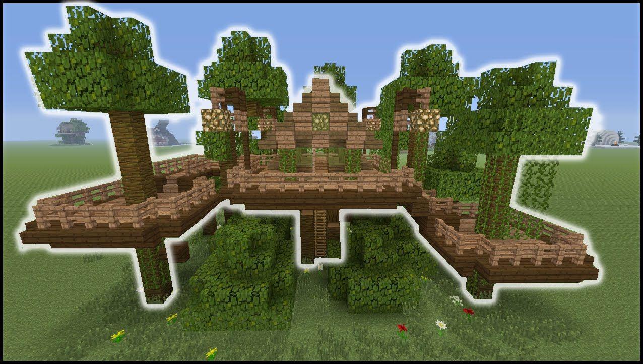 Minecraft Tutorial How To Make A Jungle Tree House Biome House Jungle Tree Tree House Minecraft Tutorial