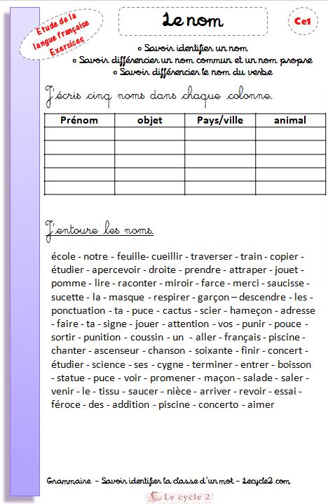 exercices-le-nom-ce1-grammaire-differencier-un-nom-commun-et-un-nom-propre-lecycle2-com ...