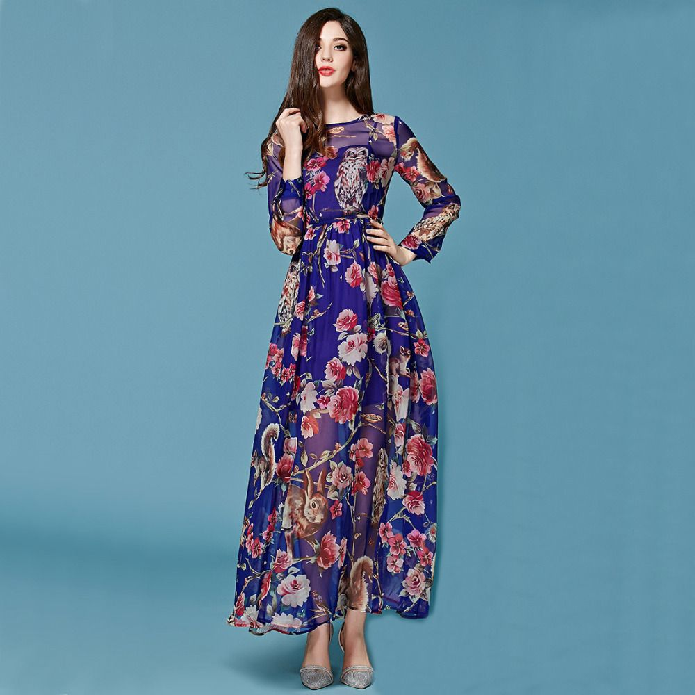 Long Party Dresses - Silk print long sleeve dress - Winter is here ...