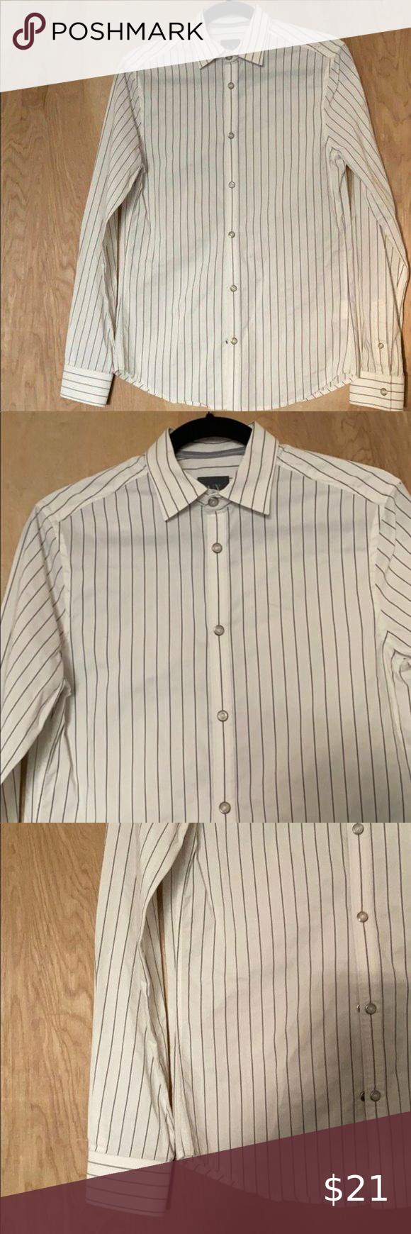 Armani Men S White Black Striped Dress Shirt Xs Black Stripe Dress Shirt Shirt Dress Cropped Faux Leather Jacket [ 1740 x 580 Pixel ]