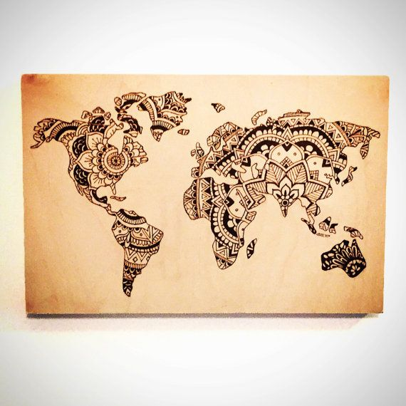 Hey i found this really awesome etsy listing at httpsetsy wood burned sign world map mandala home by thesourpeach gumiabroncs Images