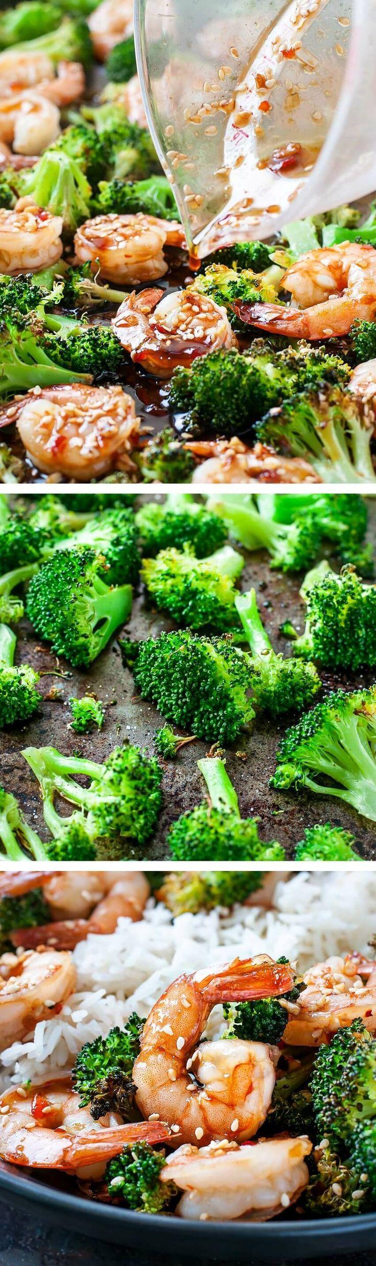 Sheet Pan Honey Garlic Shrimp and Broccoli #onepandinners