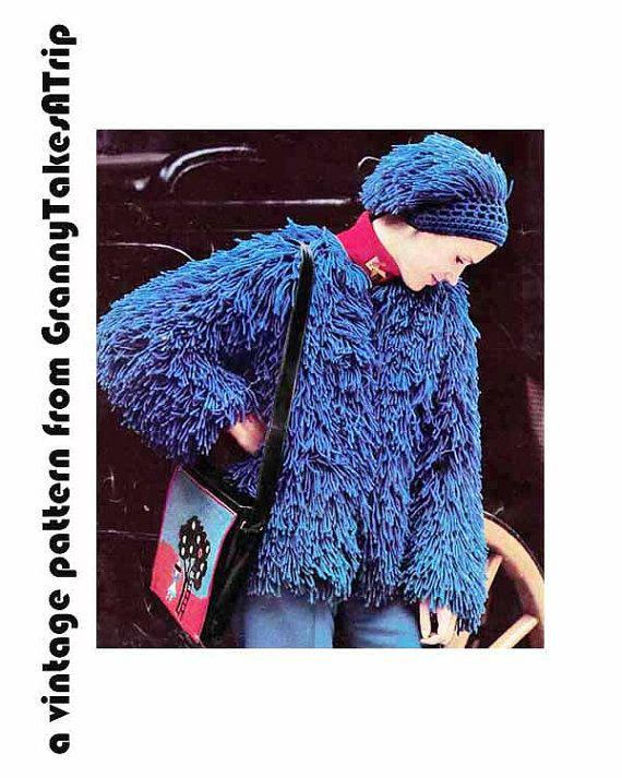 1970s VINTAGE CROCHET PATTERN - Faux Fur Jacket & Hat, Fun Fur, Boho/Retro, Instant Download Pdf from GrannyTakesATrip 0217