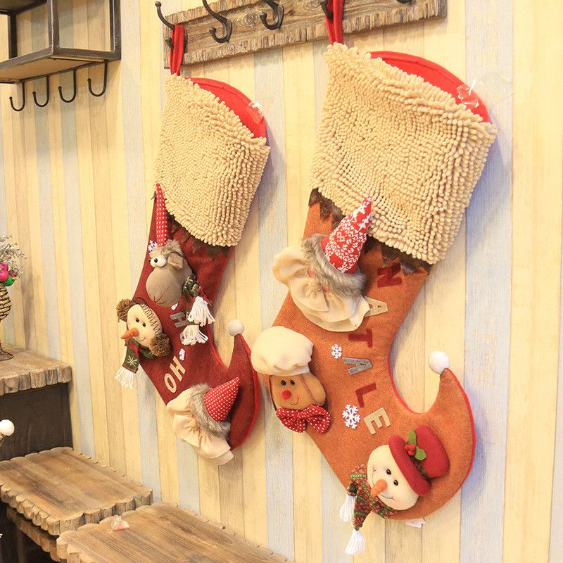 Christmas Decoration Stocking Large long-legged plaid Christmas