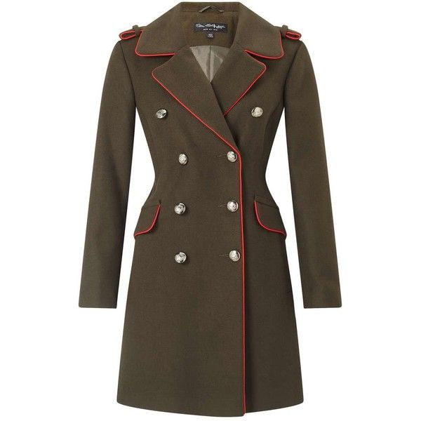 Miss Selfridge Khaki Military Coat ($165) ❤ liked on Polyvore ...