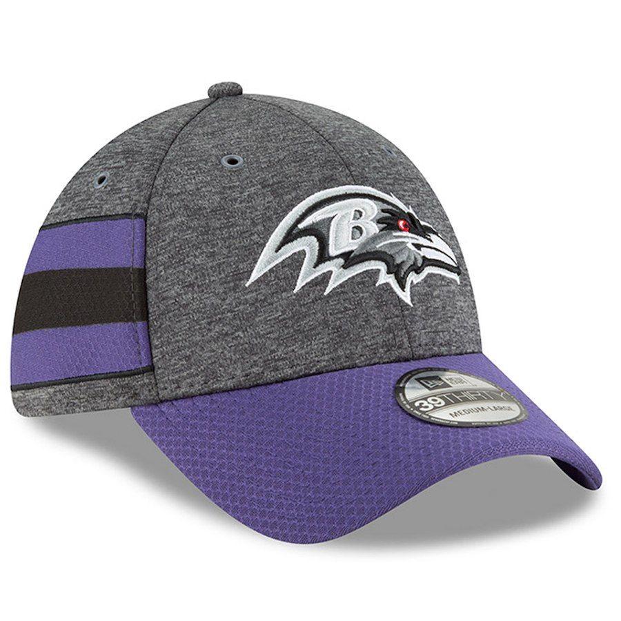 e1e2c98695e Men s Baltimore Ravens New Era Heather Gray Purple 2018 NFL Sideline Home  Graphite 39THIRTY Flex Hat