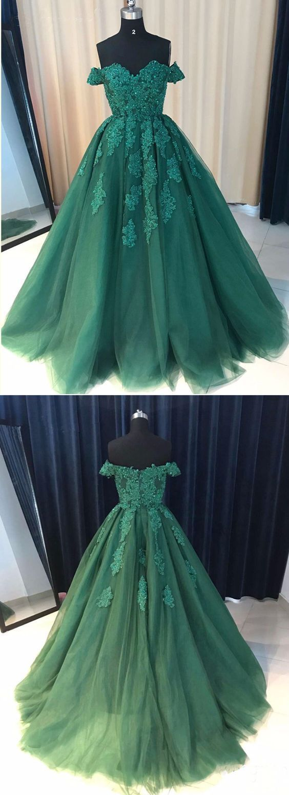 A line green off shoulder long prom ball gown with appliqueed
