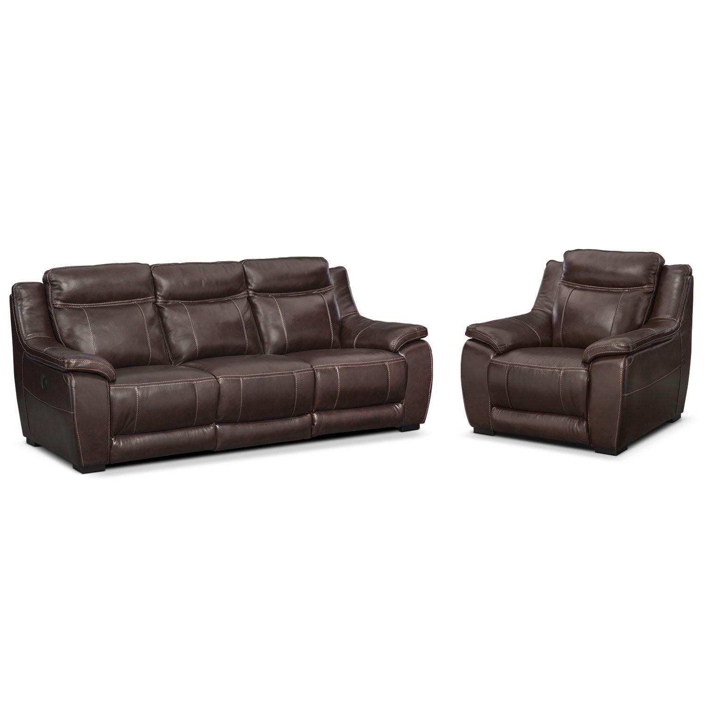 Lido Power Reclining Sofa And Recliner Set Brown