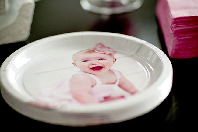 Gorgeous \ Pretty in Pink\  first birthday party - photo plates from Hallmark & Pretty in Pink party: Elin Paige is 1 | Pink parties Birthday plate ...