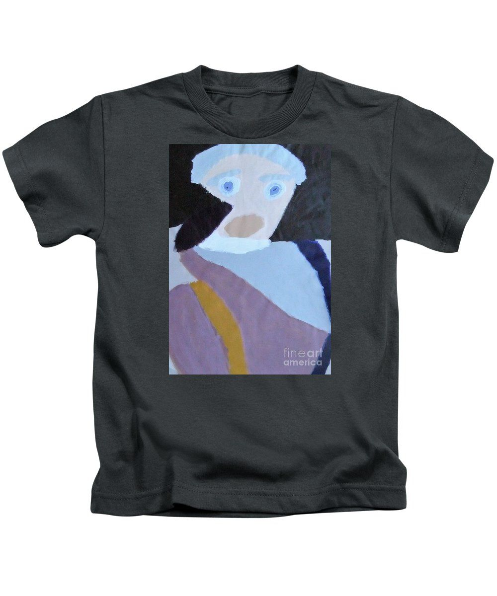 Patrick Francis Designer Kids Charcoal T-Shirt featuring the painting Portrait Of A Lady by Patrick Francis