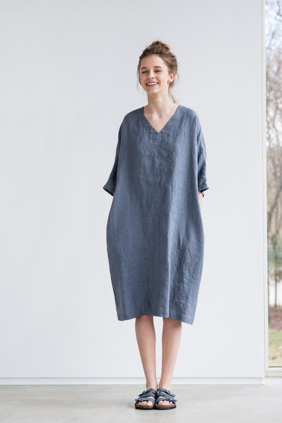 dark grey graphite linen tunic dress washed by notperfectlinen linen clothes by not perfect. Black Bedroom Furniture Sets. Home Design Ideas