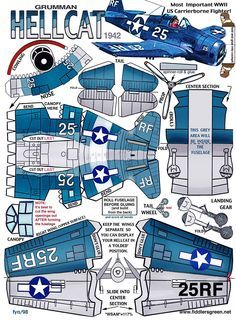 Grumman Hellcat paper airplane template | Cool Stuff | Paper