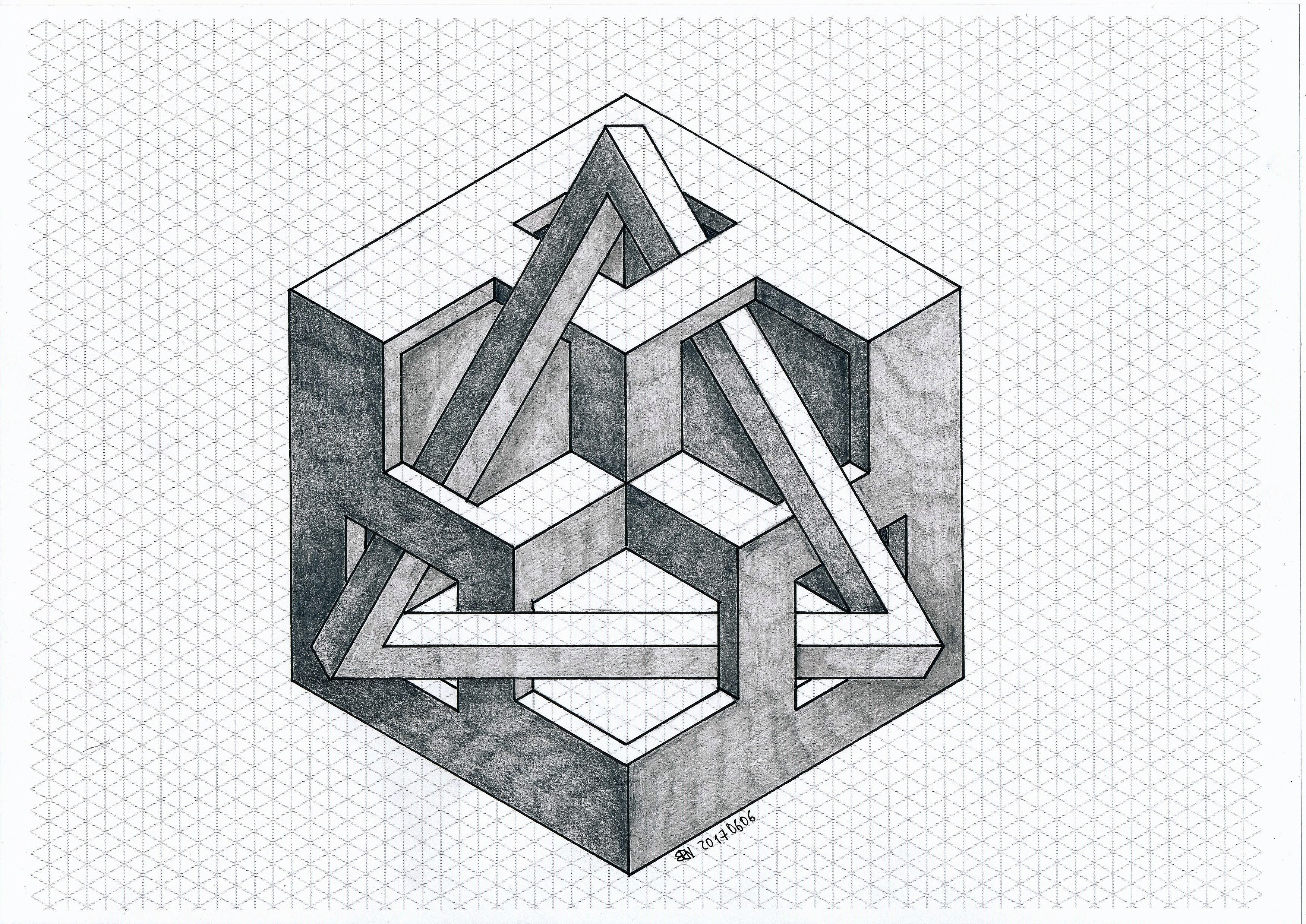 Impossible isometric geometry symmetry hexagon for Escaleras infinitas