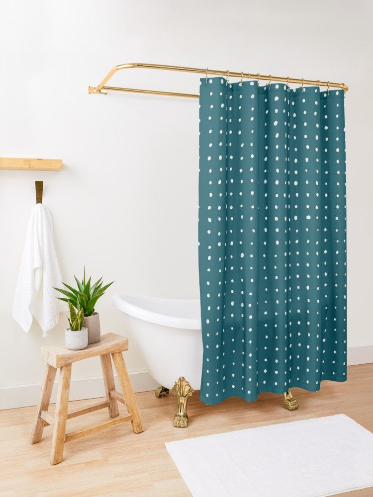 Hand Drawn Dots On Dark Teal Shower Curtain By Blertadk