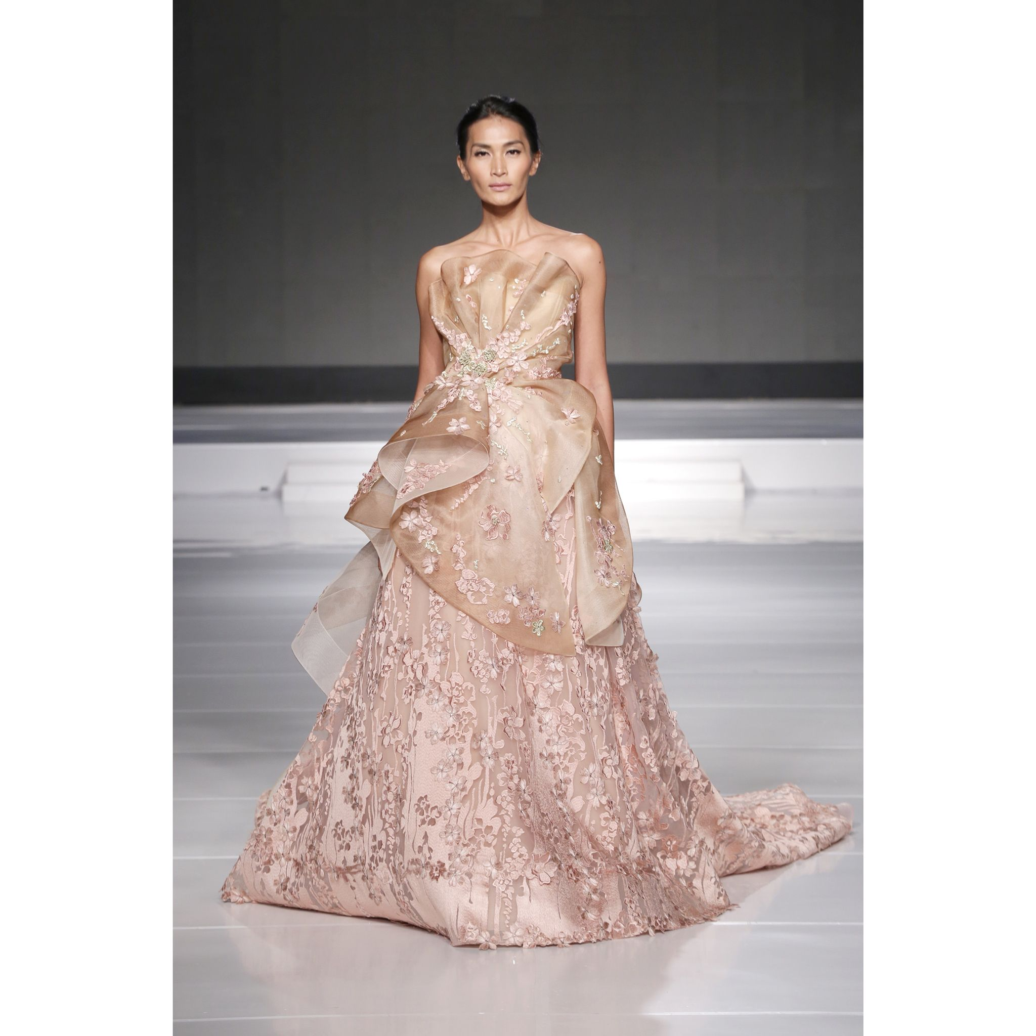 transparent lace in rosegold floral ballgown transparent ballgown