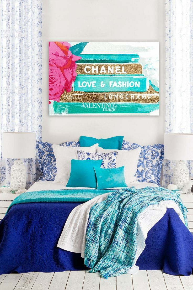 Royal Blue Bedroom With Sea Foam Accents