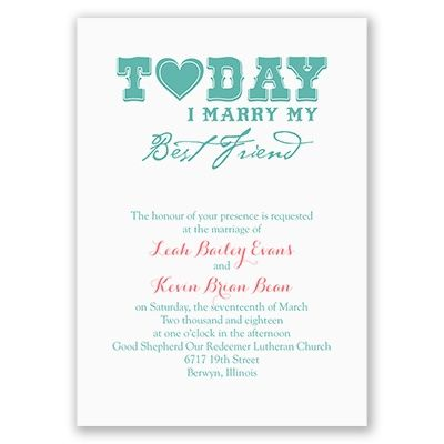 Today I Marry My Best Friend Wedding Invitation From Ann S Bridal Bargains