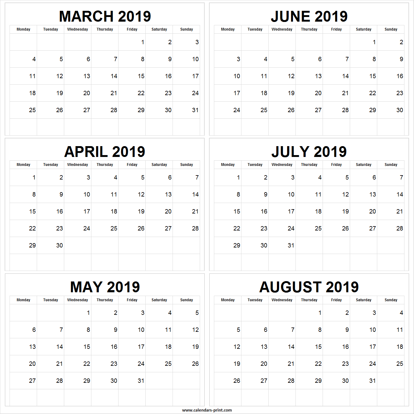 March April May June July August 2019 Calendar | March ...