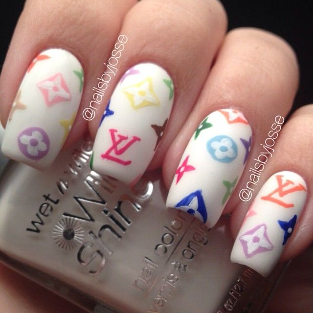 Louis Vuitton-inspired acrylic nails | Nail designs | Pinterest ...