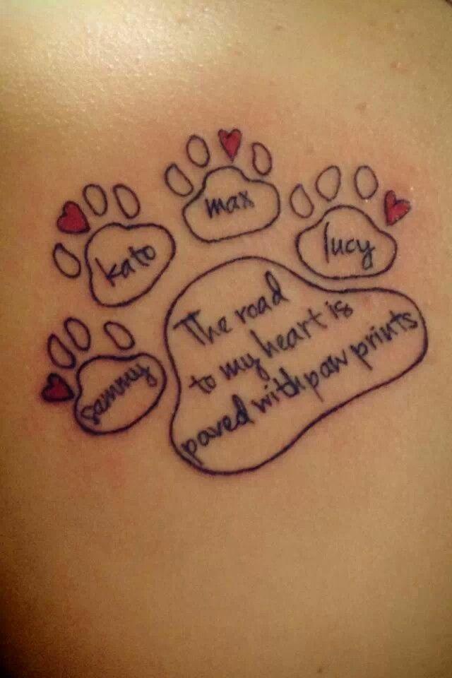 awe dog paw with dog 39 s names ink addiction pinterest tattoo ideen pfoten tattoo und. Black Bedroom Furniture Sets. Home Design Ideas